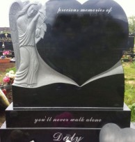 001 Black Granite Heart with Angel