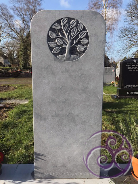 Limestone with tree of life carving 073