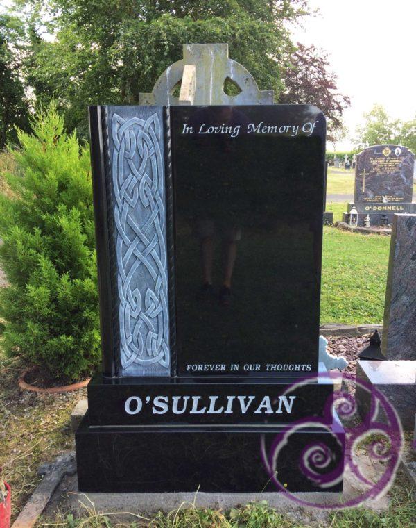 Black granite with antique celtic design 066