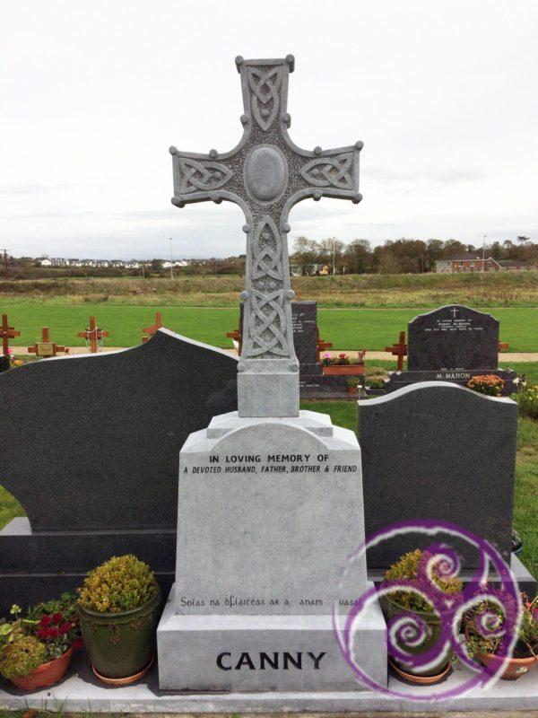 Limestone celtic cross with knotting 069