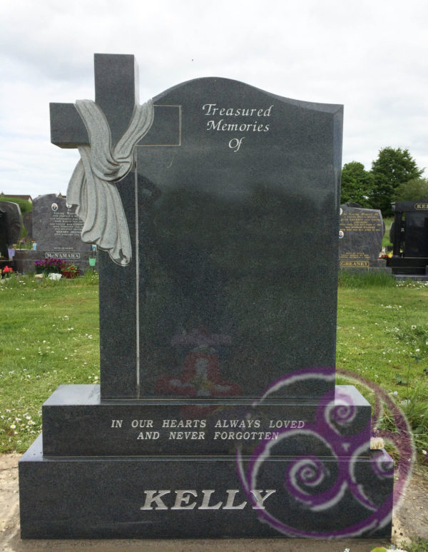 Mid grey granite with cross and shroud 067